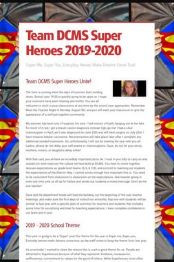Team DCMS Super Heroes 2019-2020