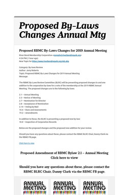 Proposed By-Laws Changes Annual Mtg