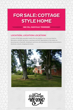 For Sale: Cottage Style Home