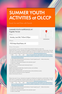 SUMMER YOUTH ACTIVITIES at OLCCP