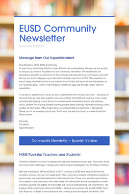 EUSD Community Newsletter
