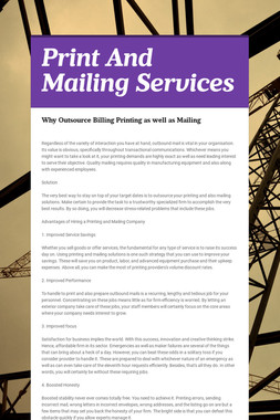 Print And Mailing Services