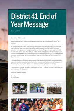 District 41 End of Year Message