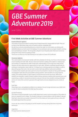 GBE Summer Adventure 2019