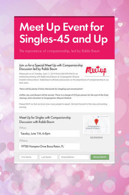 Meet Up Event for Singles-45 and Up