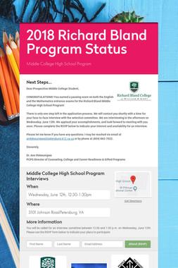 2018 Richard Bland Program Status