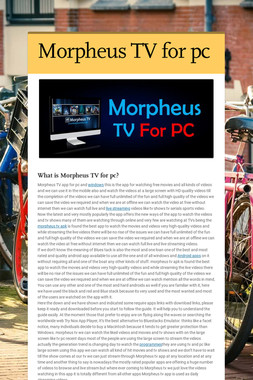 Morpheus TV for pc