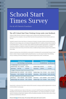 School Start Times Survey