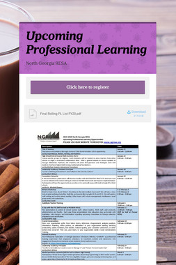 Upcoming Professional Learning