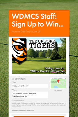 WDMCS Staff: Sign Up to Win...