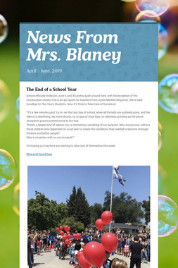 News From Mrs. Blaney