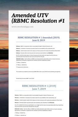 Amended UTV (RBMC Resolution #1