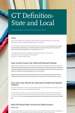 GT Definition-State and Local