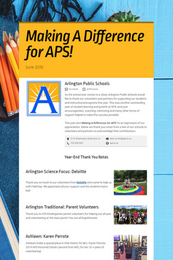 Making A  Difference for APS!