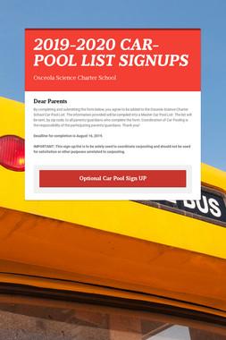 2019-2020 CAR-POOL LIST SIGNUPS