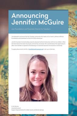 Announcing Jennifer McGuire