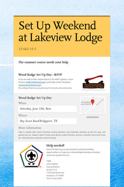 Set Up Weekend at Lakeview Lodge