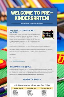 Welcome to Pre-Kindergarten!