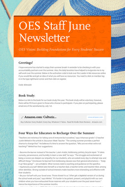 OES Staff June Newsletter