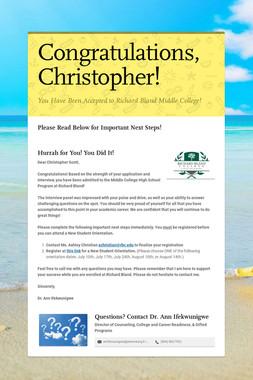 Congratulations, Christopher!