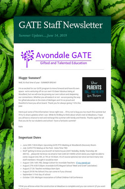 GATE Staff Newsletter