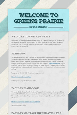 Welcome to Greens Prairie