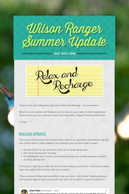 Wilson Ranger Summer Update