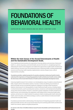 FOUNDATIONS OF BEHAVIORAL HEALTH