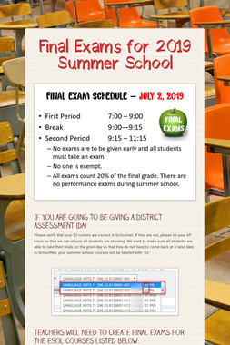 Final Exams for 2019 Summer School