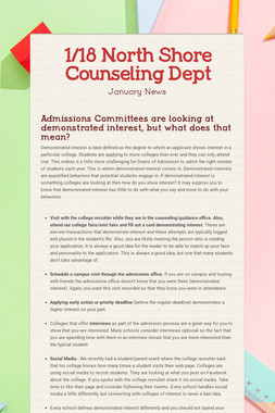 1/18 North Shore Counseling Dept