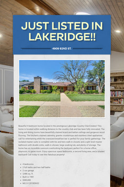 Just Listed In Lakeridge!!