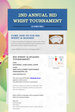 2nd Annual Bid Whist Tournament