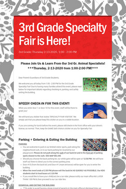 3rd Grade Specialty Fair is Here!