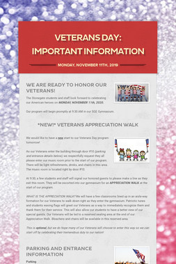 Veterans Day: Important Information
