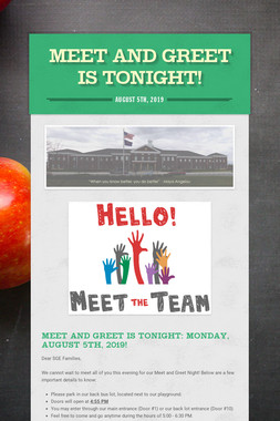 Meet and Greet is Tonight!