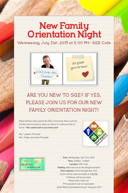 New Family Orientation Night