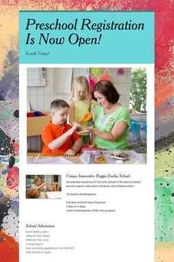 Preschool Registration Is Now Open!