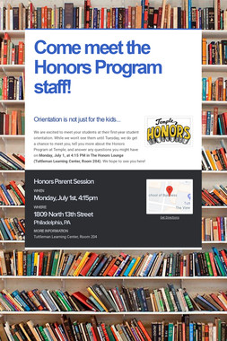 Come meet the Honors Program staff!