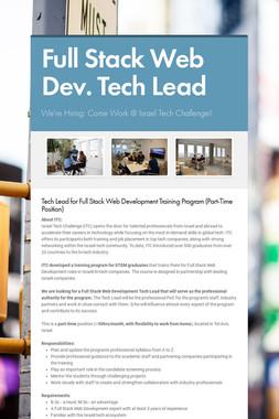 Full Stack Web Dev. Tech Lead