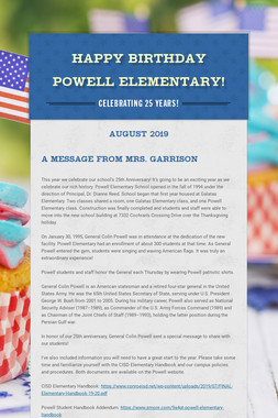 Happy Birthday Powell Elementary!