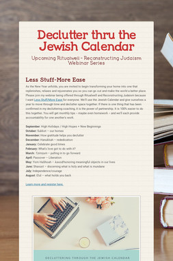 Declutter thru the Jewish Calendar