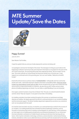 MTE Summer Update/Save the Dates