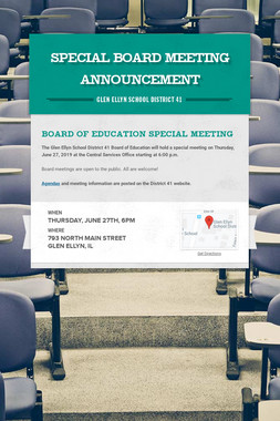 Special Board Meeting Announcement