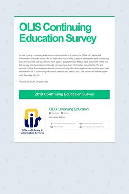 OLIS Continuing Education Survey