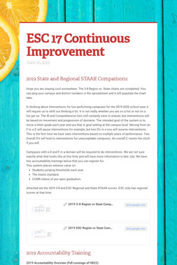 ESC 17 Continuous Improvement