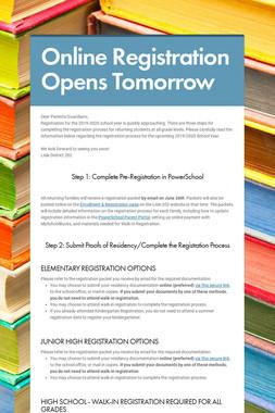 Online Registration Opens Tomorrow