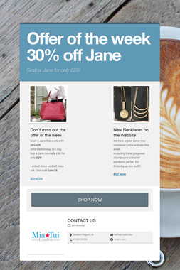 Offer of the week 30% off Jane