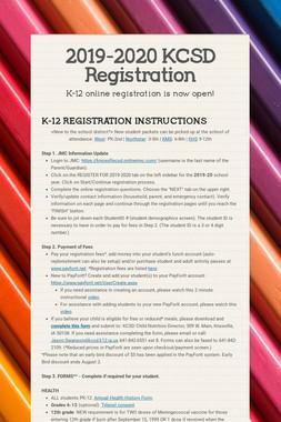 2019-2020 KCSD Registration