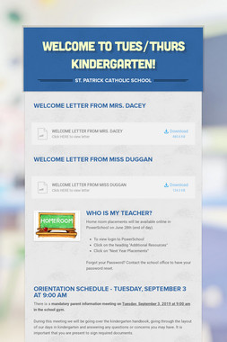 Welcome to TUES/THURS Kindergarten!