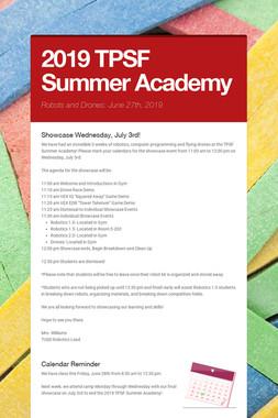 2019 TPSF Summer Academy